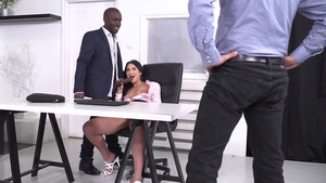 Lucky Fellows Acquainting New Sexy Boss with their Risen Dicks